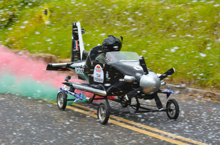 AUCKLAND - NOV 22 2015:Dream trolley race at Red Bull Trolley Grand Prix.Its a novelty downhill race of unpowered vehicles through Auckland Domain sponsored by caffeinated drink manufacturer Red Bull Editorial