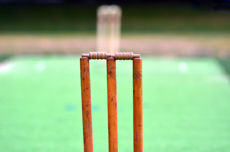 wicket: Cricket pitch with wicket and stump