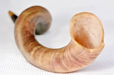yom kippur: Selective focus of Shofar (horn) from the horn of a Greater kudu on Rosh Hashanah and Yom Kippur High Holidays. Traditional Jewish holiday symbol. Concept with copy space