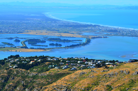 the east coast: Aerial landscape view of Christchurch in Canterbury plains and pegasus bay on the east coast of the south island of New Zealand.
