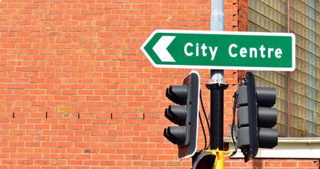 business life: City center traffic sign. Urban lifestyle concept Stock Photo