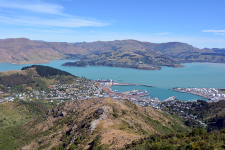 township: Aerial landscape view of Lyttelton inner harbour and township near Christchurch, New Zealand.