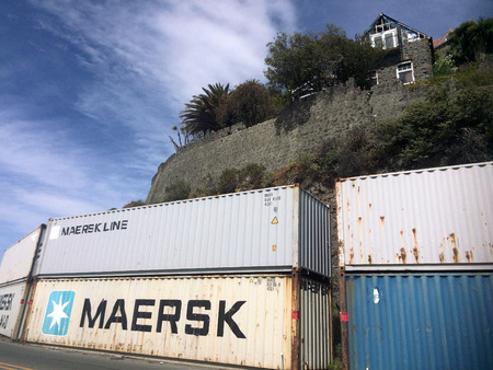 struck: CHRISTCHURCH - DEC 04 2015: A shipping container retaining wall in Christchurch.Shipping containers used in the recovery of Christchurch following the 6.3 earthquake that struck on 22 February 2011