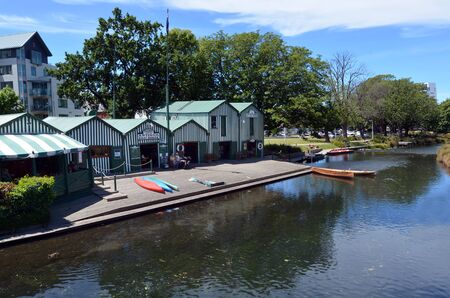 punting: CHRISTCHURCH - DEC 04 2015:Aerial view of the Punting and Kayaks boat shed on the Avon river Christchurch.It is an iconic tourist attraction of Christchurch, New Zealand.