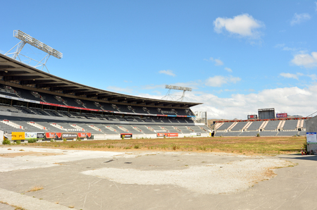sustained: CHRISTCHURCH,  NZL - DEC 06 2015:Christchurch Rugby League Park. It sustained significant damage during the February 2011 Christchurch earthquake and was damaged beyond repair.