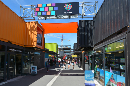 temporarily: CHRISTCHURCH - DEC 04 2015:Re:START. Its a popular temporary mall built from shipping containers created in response to 2011 Christchurch earthquake, which destroyed most buildings in City Mall. Editorial