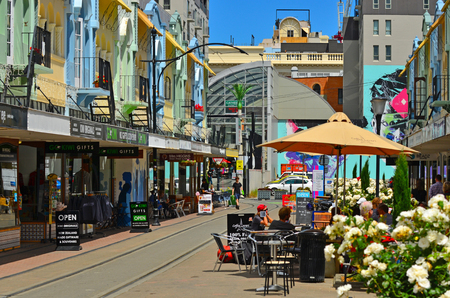 reclaiming: CHRISTCHURCH - DEC 07 2015:Cafe restaurant in New Regent Street. Christchurchs beloved New Regent Street is reclaiming its place as a one of the most popular shopping and visitor destination