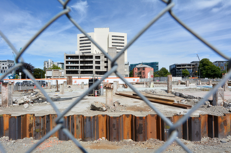 earthquakes: CHRISTCHURCH - DEC 04 2015:Damaged building in Christchurch.Over 1000 buildings in the CBD, about a third of the total buildings within four avenues, were demolished following Christchurch earthquakes