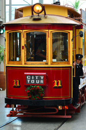 tramway: CHRISTCHURCH - DEC 07 2015:Christchurch Tramway tram system.The tramway operate since 1882 and become one of the symbols of Christchurch and a popular attraction for tourists and locals alike.