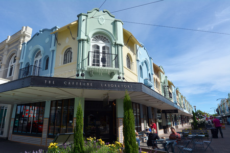 regent: CHRISTCHURCH - DEC 04 2015:Cafe restaurant in New Regent Street. Christchurchs beloved New Regent Street is reclaiming its place as a one of the most popular shopping and visitor destination Editorial