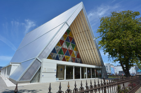 cardboard only: CHRISTCHURCH - DEC 04 2015:Cardboard Cathedral.Its temporary home to ChristChurch Cathedral that damaged in 2011 Christchurch earthquake. Its the only cathedral made of cardboard in the world.