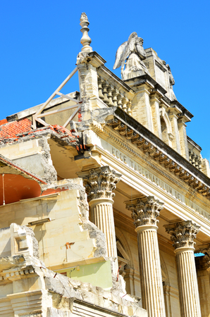 sacrament: CHRISTCHURCH - DEC 06 2015:Damaged building, Cathedral of the Blessed Sacrament,  in Christchurch.Over 1000 buildings in the CBD (Central Business District) were demolished following the earthquakes.