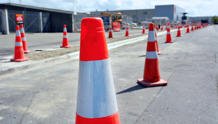 quake: CHRISTCHURCH - DEC 04 2015:Road work in Christchurch.The bill for fixing Christchurchs quake damaged roads and underground pipes estimate is $2 billion (USD) Editorial