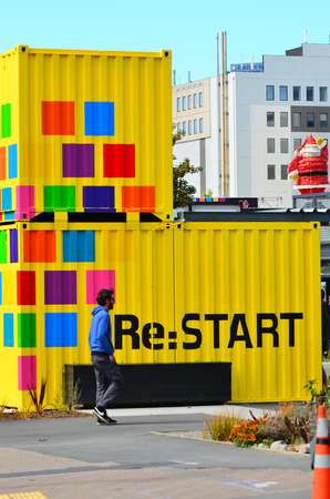 temporarily: CHRISTCHURCH - DEC 06 2015:Re:START. Its a popular temporary mall built from shipping containers created in response to 2011 Christchurch earthquake, which destroyed most buildings in City Mall.