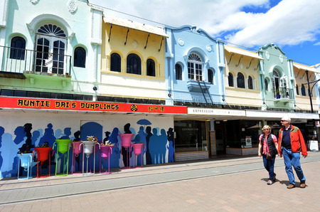 reclaiming: CHRISTCHURCH - DEC 07 2015:Visitors in New Regent Street. Christchurchs beloved New Regent Street is reclaiming its place as a one of the most popular shopping and visitor destination Editorial