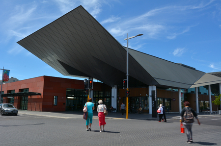 severely: CHRISTCHURCH,  NZL - DEC 04 2015:Christchurch Bus Interchange. The old bus exchange was severely damage during the earthquake of 2011