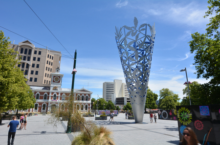 CHRISTCHURCH - DEC 04 2015:The Chalice in Cathedral square Christchurch.Its a large modern sculpture of an inverted cone  made up of patterns featuring different native plants made by Neil Dawson.