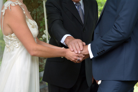 justices: Wedding ceremony -exchange of wedding vows. Wedding and marriage concept. Stock Photo