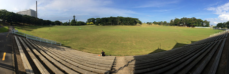 new building: AUCKLAND,  NZL - DEC 31 2015:Panoramic view of Auckland Domain.It is Aucklands oldest park, and at 75 hectares one of the largest in the city. Editorial