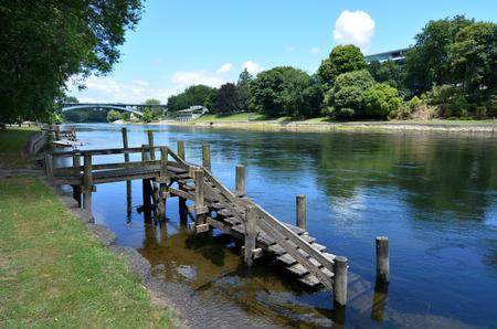 Landscape of the Waikato River passing through Hamilton, New Zealand.