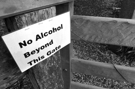 no alcohol: No Alcohol beyond this gate sign. Concept with copy space Stock Photo