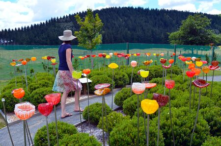 TAUPO, NZL - JAN 14 2016:An outdoor glass garden near Taupo, New Zealand.Taupo is on of the top 10 travel destinations in New Zealand Editorial