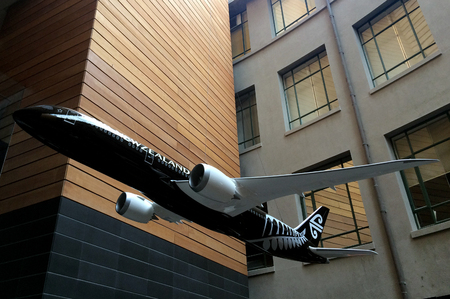 first plane: AUCKLAND - JAN 03 2015:Air New Zealand plane model.Air New Zealand celebrates 75 years since its first flight to Australia in 1940. Editorial