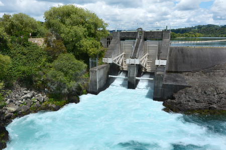 downstream: TAUPO, NZL - JAN 14 2016:Aratiatia Rapids Dam opened spill gates. Its the first hydroelectric power station on the Waikato River, and is located 13 kilometres (8.1 mi) downstream of Lake Taupo. Editorial