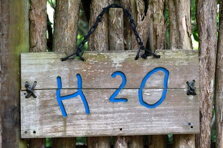 chemical formula: The chemical formula of water H2O on outdoor sign. Water concept Stock Photo