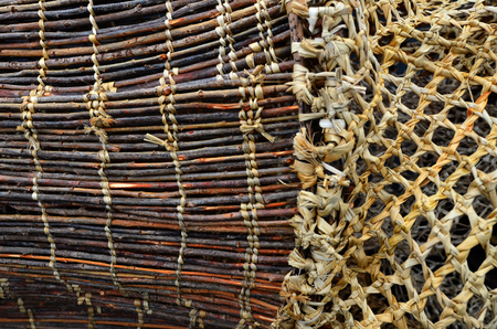 Maori wooden fishing net details.Traditional Maori culture artwork New Zealand.Background texture Stock Photo - 52001552