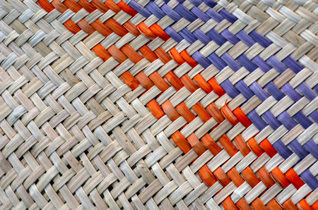 traditional culture: Woven flax close up  traditional Maori culture artwork New Zealand.Background texture