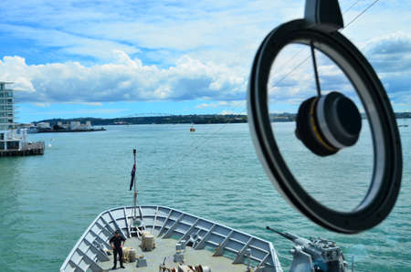 protector: AUCKLAND,  NZL - JAN 30 2016:HMNZS Wellington P55 in ports of Auckland during anniversary day.Its a Protector class off-shore patrol vessel in the Royal New Zealand Navy.