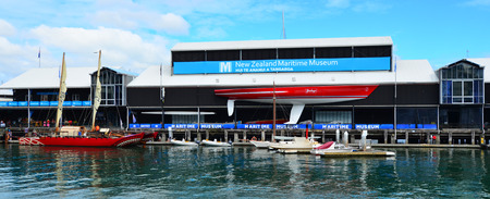 americas: AUCKLAND - JAN 30 2016:New Zealand Maritime Museum.It houses exhibitions spanning New Zealands maritime history from the first Polynesian explorers to modern day triumphs at the Americas Cup.