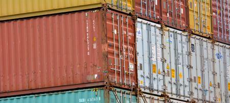 reloading: AUCKLAND - JAN 31 2016:Intermodal shipping containers.They designed and built for intermodal freight transport from ship to rail to truck without unloading and reloading their cargo.