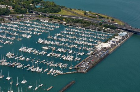 booked: AUCKLAND - JAN 31 2016:Aerial view of Westhaven Marina in Auckland.Its the largest yacht marina in New Zealand and the Southern Hemisphere.It has 2000 berths and swing moorings continually booked. Editorial