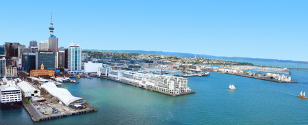 habour: AUCKLAND - JAN 31 2016:Aerial view of  Auckland financial center against the Waitemata Habour New Zealand. Auckland is the financial capital of new Zealand