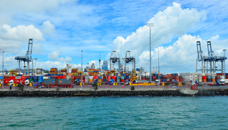 australasia: AUCKLAND,  NZL - JAN 31 2016:The Port of Auckland. Its New Zealands busiest port and the third largest container terminal in Australasia. Editorial