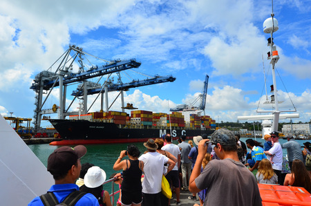 australasia: AUCKLAND,  NZL - JAN 31 2016:Visitors at Ports of Auckland - New Zealand Its New Zealands busiest port and the third largest container terminal in Australasia. Editorial