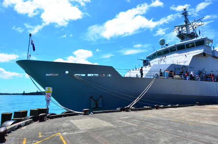 onboard: AUCKLAND,  NZL - JAN 30 2016:Visitors onboard HMNZS Wellington P55 in ports of Auckland during anniversary day.Its a Protector class off-shore patrol vessel in the Royal New Zealand Navy. Editorial