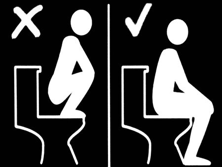 loo: Toilet sign of how to sit on a toilet sit the right and wrong way.Sign explain non-westerners how to SIT on a toilet after growing numbers of Asian tourists stand on loo