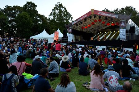 chinese lanterns: AUCKLAND - FEB 20 2016:Folklore music show in Auckland Lantern Festival.Its the largest Chinese festival in New Zealand with 800 handmade Chinese lanterns to celebrate Chinese New Year.