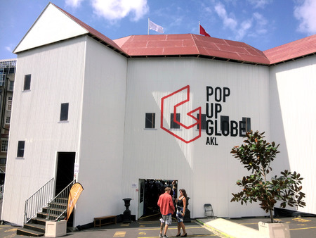globe theatre: AUCKLAND,  NZL - FEB 22 2016: Pop UP Globe.It is the world first to-scale reconstruction of Shakespeare second Globe theatre  for his 400th anniversary that showing Shakespeare plays in the open air.