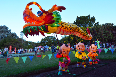 celebrate year: AUCKLAND - FEB 20 2016:Handmade Chinese Dragon lantern in Auckland Lantern Festival.Its the largest Chinese festival in New Zealand with 800 handmade lanterns to celebrate Chinese New Year.
