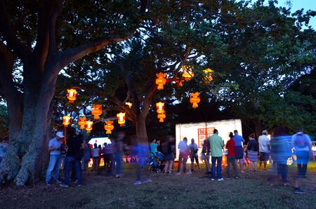 chinese lanterns: AUCKLAND - FEB 20 2016:Visitors in Auckland Lantern Festival.Its the largest Chinese festival in New Zealand with 800 handmade Chinese lanterns to celebrate Chinese New Year and Year of the Monkey