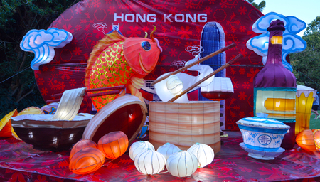 chinese new year food: AUCKLAND - FEB 20 2016:Handmade Chinese food in Hong Kong lanterns in Auckland LanternFestival.Its the largest Chinese festival in New Zealand with 800 handmade lanterns to celebrate Chinese New Year.
