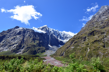 fiordland: Landscape of mountains with snow in Fiordland, New Zealand
