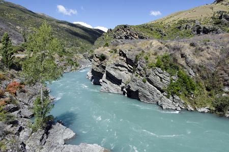 aotearoa: Landscape of the Kawarau River in Otago, New Zealand.