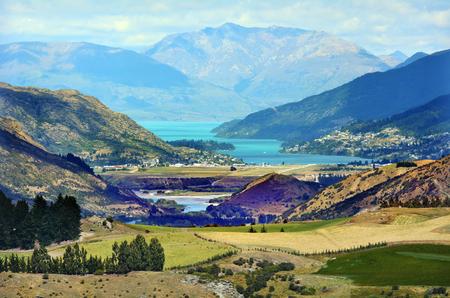 Landscape of Queenstown, New Zealand. Stock Photo