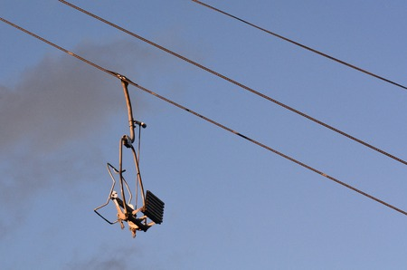 chairlift: Empty Chairlift on a cable.