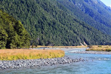 fiordland: Landscape of Eglinton river in Fiordland, New Zealand Stock Photo